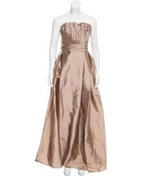 Monique Lhuillier Bridesmaids - Taffeta Trumpet Gown W/ Tags Tan - Lyst