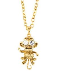 Kenneth Jay Lane - Crystal Monkey Pendant Necklace Gold - Lyst