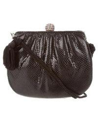 Judith Leiber - Snakeskin Embellished Crossbody Bag Black - Lyst