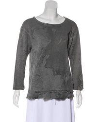 Greg Lauren - Distressed Sweatshirt Grey - Lyst