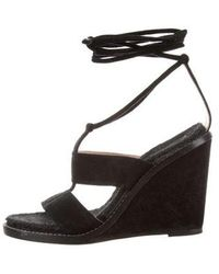 Paul Andrew - Suede Wedge Sandals - Lyst