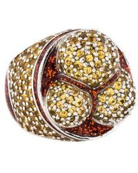 M.c.l  Matthew Campbell Laurenza - Yellow Sapphire & Foiled Enamel Cocktail Ring Silver - Lyst