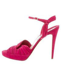Brian Atwood - Suede Buckle Strap Sandals - Lyst