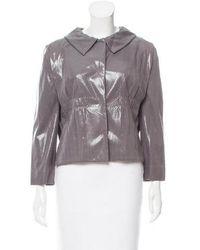 Alberta Ferretti - Metallic Button-up Jacket Grey - Lyst