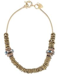 Giles & Brother - Crystal Ring Necklace Brass - Lyst