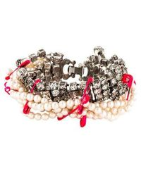 Tom Binns - Safety Pin And Pearl Bracelet Silver - Lyst