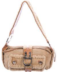 Dior - Suede & Shearling Shoulder Bag Tan - Lyst