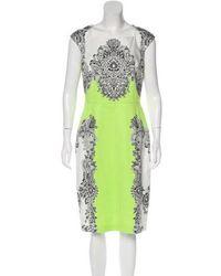 David Meister - Print Shift Knee-length Dress Lime - Lyst