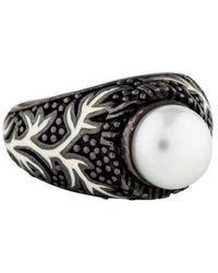 M.c.l  Matthew Campbell Laurenza - Pearl & Enamel Cocktail Ring Silver - Lyst
