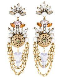 Erickson Beamon - Crystal & Faux Pearl Chandelier Earrings Gold - Lyst