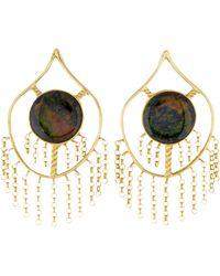 Kara Ross - 18k Treated Black Opal Drop Earrings Yellow - Lyst