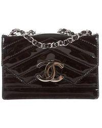 90beef6472d3 Lyst - Chanel Vintage Patent Crossbody Bag Black in Metallic