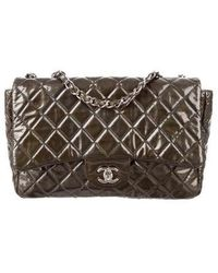 dab85255c30400 Lyst - Chanel Chesterfield Flap Bag Quilted Calfskin Jumbo in Blue