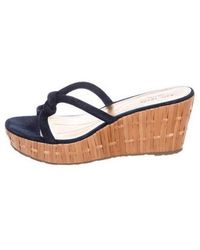 26a8c867a904 Lyst - Kate Spade Suede Wedge Sandals in Blue