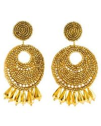 Kenneth Jay Lane - Seed Bead Round Gypsy Hoop Earrings Gold - Lyst