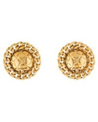 Chanel - Vintage Cc Clip-on Earrings Gold - Lyst