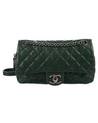 Lyst - Chanel Camera Leather Crossbody Bag in Green d1b280555eccd