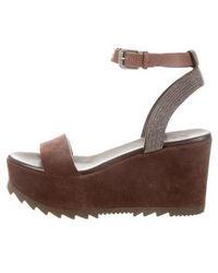 Brunello Cucinelli - Suede Flatform Sandals - Lyst