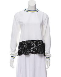 Love Moschino - Lace-accented Long Sleeve Top White - Lyst