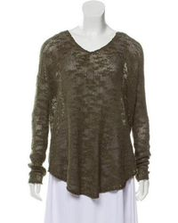 Helmut Lang - Long Sleeve Knit Sweater Olive - Lyst