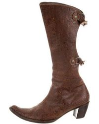 Henry Beguelin - Leather Pointed-toe Mid-calf Boots - Lyst