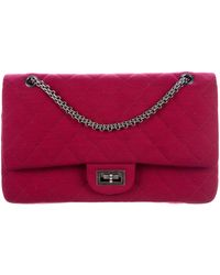 bd567e45ab03be Lyst - Chanel Jersey Reissue 227 Double Flap Bag Navy in Metallic