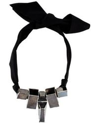 Lanvin - Geometric Mirrored Necklace Silver - Lyst