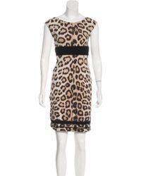 Roberto Cavalli - Sleeveless Printed Dress Tan - Lyst