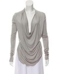 Helmut - Cowl Neck Long Sleeve Top Grey - Lyst