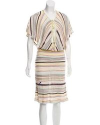 ab34d441dbd3 Lyst - M Missoni Knit Knee-length Dress Purple in Yellow