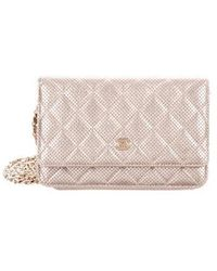 0829e29f573c82 Lyst - Chanel Timeless Wallet On Chain Gold in Metallic