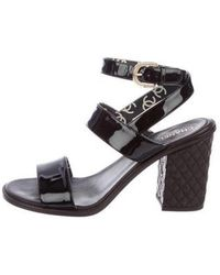 Chanel - Patent Leather Wrap-around Sandals - Lyst