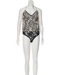 Donna Karan - Embellished Sleeveless Bodysuit - Lyst