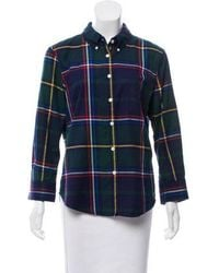 Band of Outsiders - Plaid Button-up Navy - Lyst