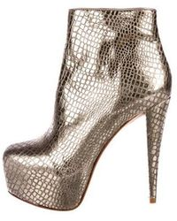 Alice + Olivia - Leather Ankle Boots Gold - Lyst