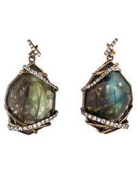 Kara Ross - Labradorite & White Sapphire Drop Earrings Silver - Lyst