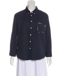 Band of Outsiders - Striped Button-up Top Navy - Lyst