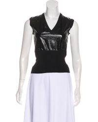 Louis Vuitton - Leather-paneled Sleeveless Top - Lyst