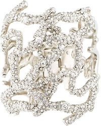 Kenneth Jay Lane - Crystal Coral Reef Branch Cuff Silver - Lyst