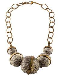 Kara Ross - Kara By Ross Snakeskin Bead Collar Necklace Brass - Lyst