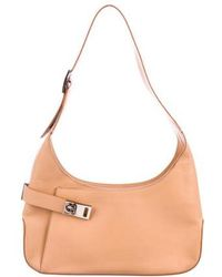 Ferragamo - Gancio Leather Hobo Beige - Lyst