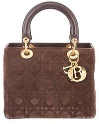 Dior - Suede Medium Lady Bag Gold - Lyst