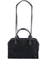 Chanel - 2015 Quilted Deauville Bowling Bag Black - Lyst