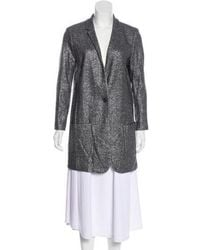 Magaschoni - -accented Wool Coat Grey - Lyst