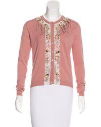 Blumarine Knit Embellished Cardigan Lyst Coral HgxFHnwqr