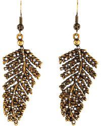 Emilio Pucci - Crystal Leaf Earrings Gold - Lyst