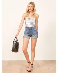 Reformation - Lola High Rise Jean Short With Cuff - Lyst