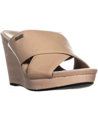 Calvin Klein - Jacolyn Wedge Slip On Criss Cross Sandals - Lyst