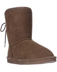 BEARPAW - Elizabeth Short Back Lace Up Winter Boots - Hickory - Lyst