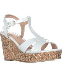 Callisto - Aspenn T-strap Wedge Sandals, White - Lyst